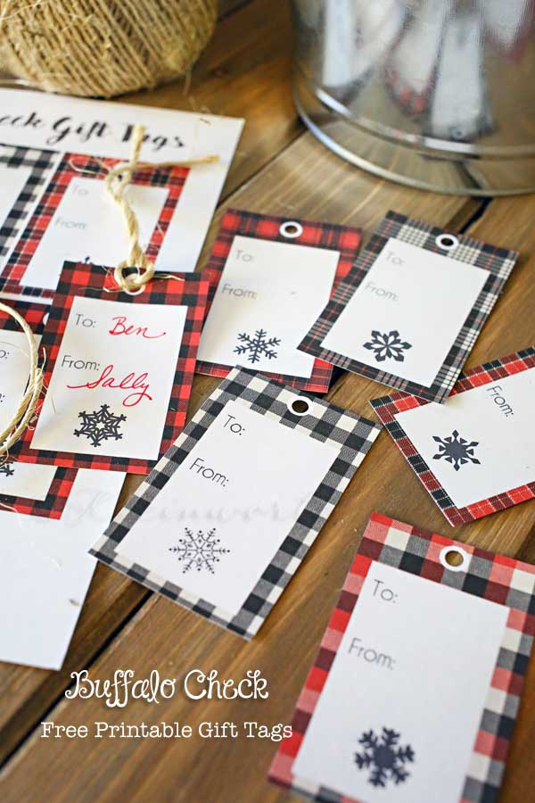 Buffalo Check Free Printable Gift Tags