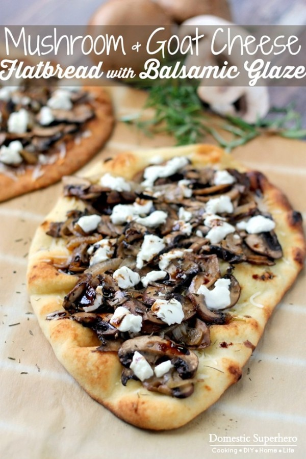 Mushroom Goat Cheese Flatbread with Balsamic Glaze