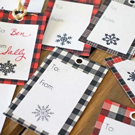 Buffalo Check Free Printable Gift Tags