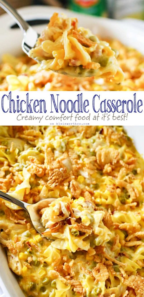 Easy family dinner ideas like Chicken Noodle Casserole are a great way to have comfort food quick. Amazing chicken recipes like this are always a favorite! I love how quick & easy this dinner is & how much my family loves it. Don't miss my tip for making this in bulk as a freezer meal too.