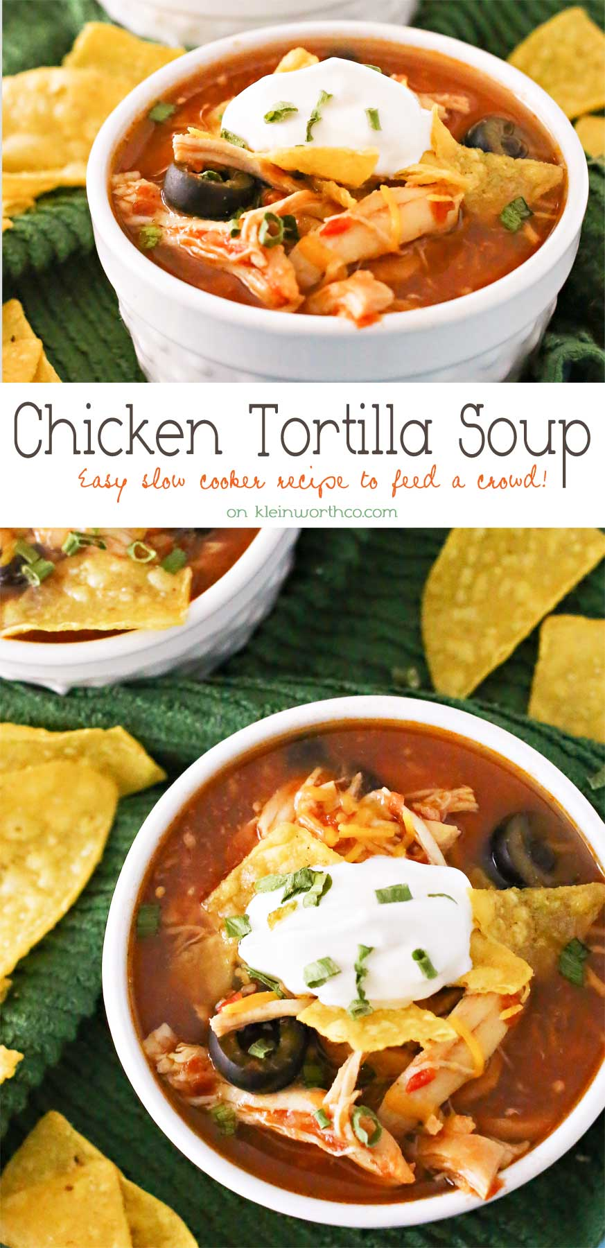 Slow Cooker Chicken Tortilla Soup is loaded with chicken, tomatoes, corn, black beans & olives in a delicious salsa verde base. Simple, hearty & DELICIOUS