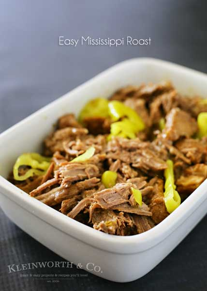 Easy family dinner ideas get even better when you add crockpot recipes like this Easy Mississippi Roast to the menu. Just toss & go for an AMAZING meal that the whole family will love. Serve over rice, mashed potatoes or even in tacos. It's a DELICIOUS dinner you will make again & again.