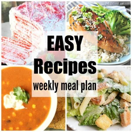 Easy Recipes Weekly Meal Plan Week 33