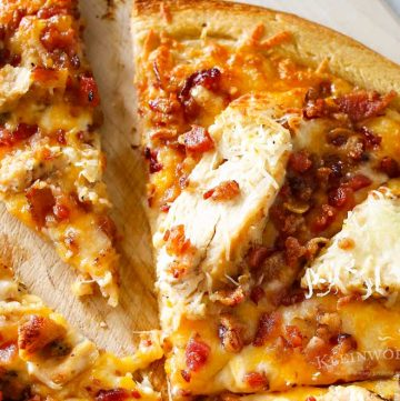 Grilled Chicken & Bacon Pizza with Garlic Cream Sauce