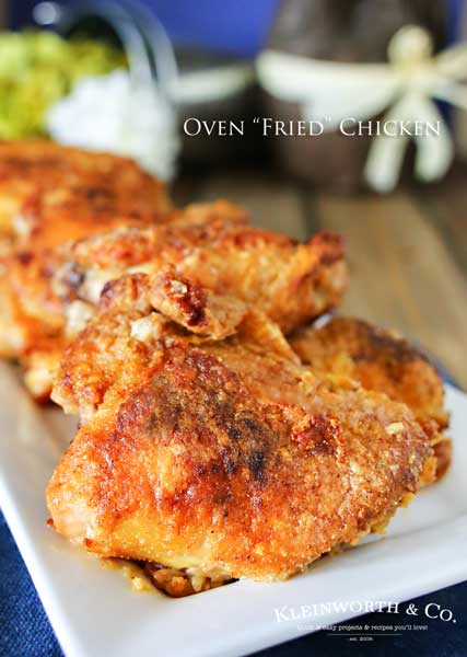 Oven Fried Chicken that comes out crispy & delicious in about an hour.