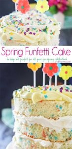 """Spring celebrations are fun & easy with this Spring Funfetti Cake. You can create fun family moments with this cake recipe as one of your Easter desserts. Using frosting just in-between layers for that """"naked cake"""" look that is SO popular right now. It's gives the perfect amount of cake to frosting ratio & it's absolutely delicious! I'm loving it for all our holiday & spring birthday celebrations."""
