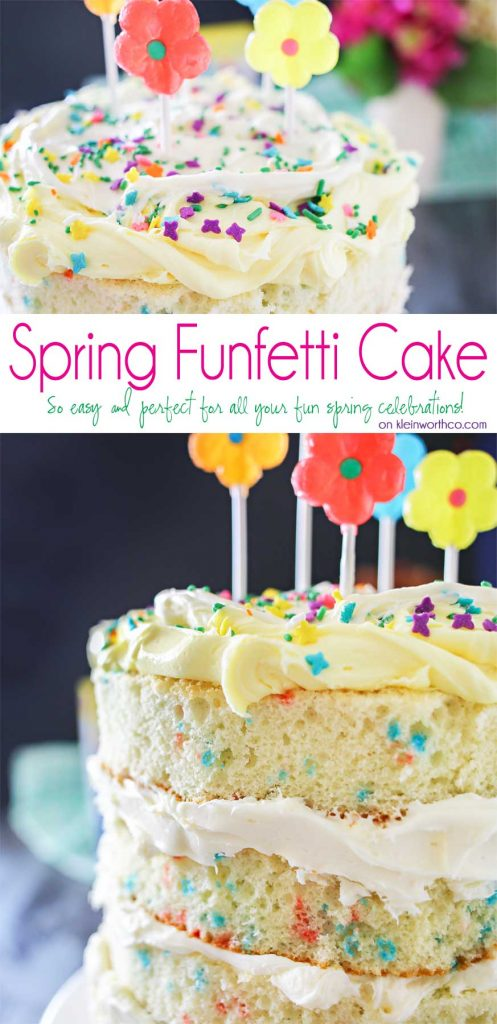 "Spring celebrations are fun & easy with this Spring Funfetti Cake. You can create fun family moments with this cake recipe as one of your Easter desserts. Using frosting just in-between layers for that ""naked cake"" look that is SO popular right now. It's gives the perfect amount of cake to frosting ratio & it's absolutely delicious! I'm loving it for all our holiday & spring birthday celebrations."