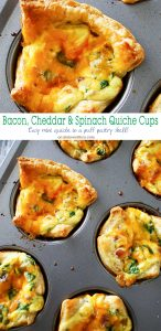 Bacon Cheddar & Spinach Quiche Cups are a perfect, savory brunch recipe that's so easy to make. Baked in fluffy puff pastry- these mini quiches are delish! Perfect for Easter or Mother's Day celebrations, you'll want to make 3-4 batches to feed your crowd. But don't worry, they are so simple & take less than 30 minutes.