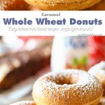 Caramel Whole Wheat Donuts are a lightened up version of the traditional baked cake donut recipe. Using whole wheat flour & just a dusting of confectioners sugar in place of frosting, they are perfect with your morning coffee or at your next brunch. Don't miss my tips for planning a coffee party too.