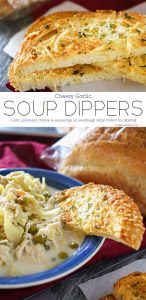 Cheesy Garlic Soup Dippers are broiled sourdough bread sticks loaded with butter, seasonings & Parmesan cheese. Better than croutons & absolutely perfect w/ any soup recipe. All that crunchy, cheesy, garlicky goodness- YUM!