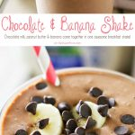 Chocolate milk, peanut butter & bananas come together to make this Chocolate Banana Shake that is the perfect breakfast or snack recipe! Make one before heading out the door or as an after school treat. Either way, everyone loves this chocolate banana smoothie!