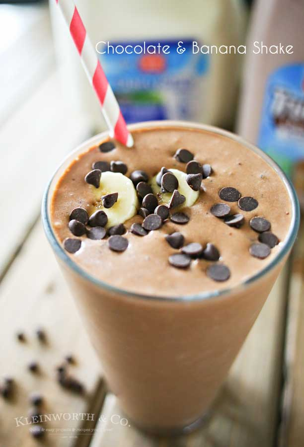 Chocolate milk, peanut butter & bananas come together to make this Chocolate Banana Shake that is the perfect breakfast or snack recipe! Make one before heading out the door or as an after school treat. Either way, everyone loves this chocolate goodness!