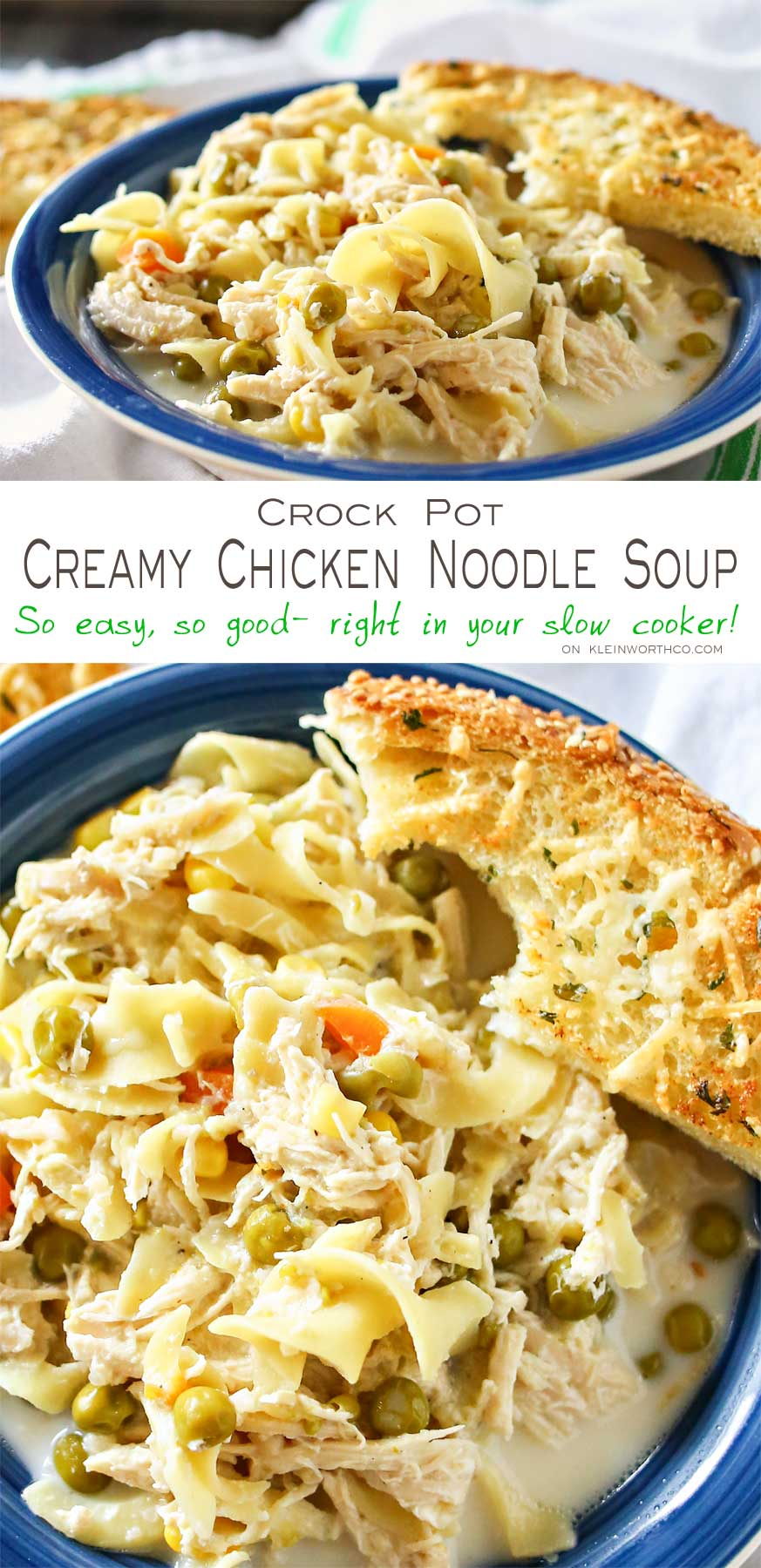 Easy family dinner ideas like this simple crock pot Creamy Chicken Noodle Soup quickly becomes a dinner time favorite. Just toss it all in the slow cooker & dinner is done with little effort. But oh man is it delicious! Absolutely the perfect easy chicken recipe! Don't miss my tips for speeding up the prep process too!