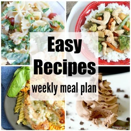 Easy Recipes Weekly Meal Plan Week 34