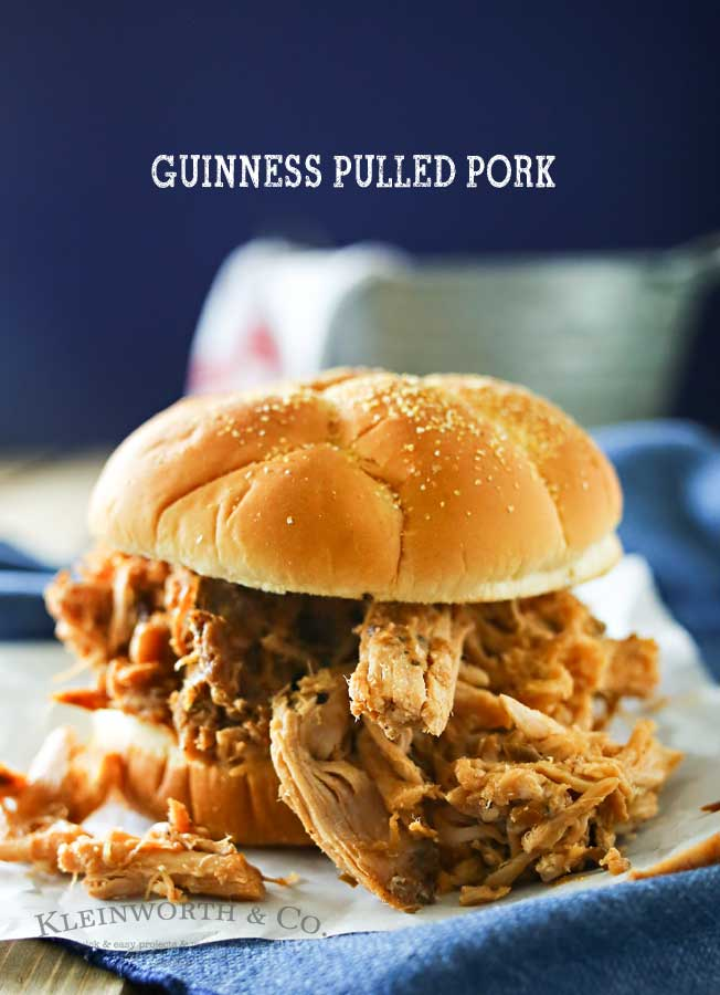 "What's better than an easy slow cooker pork recipe? One that adds the deep flavor of Guinness for a Guinness Pulled Pork. A delicious easy family dinner that is perfect for this time of year right before St. Patrick's Day. But really, it's great all year long. I think this may be my new ""go-to"" pulled pork recipe! Oh & the sauce - It's AMAZING!"
