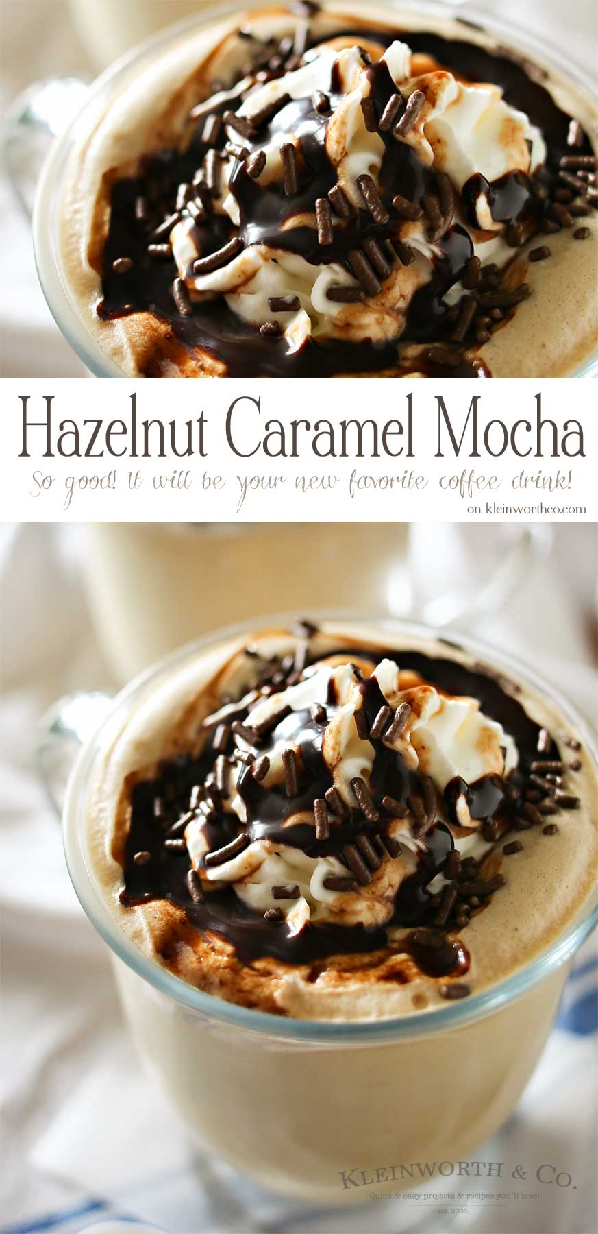 If you love to re-create your favorite coffee house drinks then you are going to LOVE this recipe. It's your favorite coffee loaded with caramel, hazelnut & chocolate flavors- YUM. Your morning coffee just got better with this BRILLIANT Hazelnut Caramel Mocha. Definitely my favorite way to start the day & it's so easy!