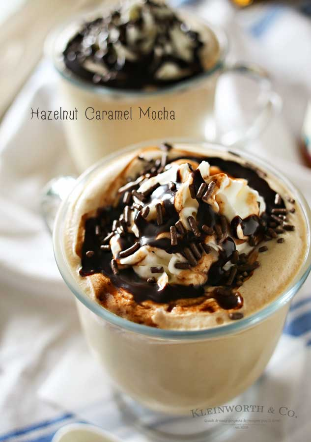 If you love to re-create your favorite coffee house drinks then you are going to LOVE this recipe. It's your favorite coffee loaded with caramel, hazelnut & chocolate flavors- YUM. Your morning coffee just got better with this AMAZING Hazelnut Caramel Mocha. Definitely my favorite way to start the day & it's so easy!