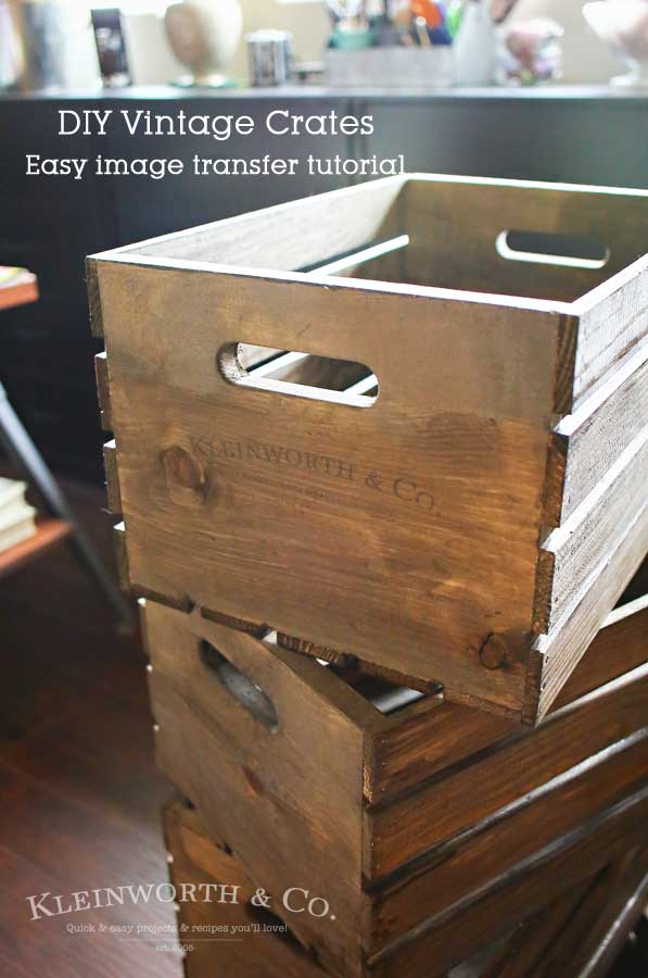 Anything with a vintage feel is so popular right now. If you go with modern farmhouse decor, that's even better with popular shows like Fixer Upper. You can create these DIY Vintage Crates with this Easy Image Transfer Tutorial using wax or freezer paper. It's a simple DIY that easily gives that farmhouse look.