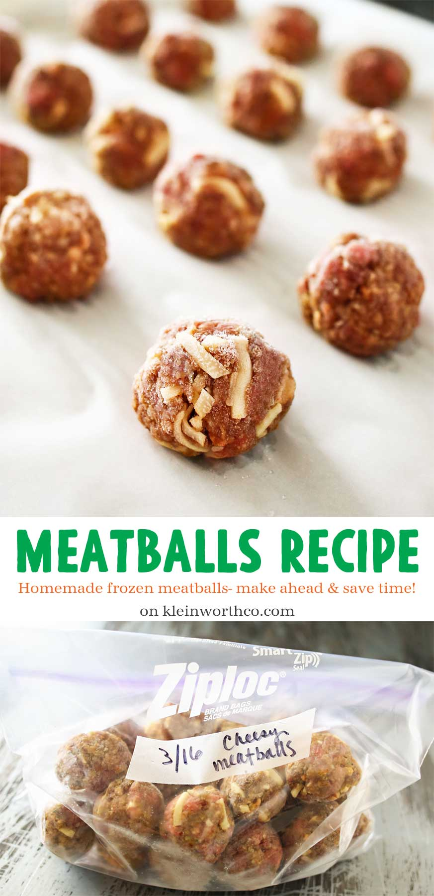Don't buy pre-packaged meatballs when this homemade Meatballs Recipe is so easy! Make ahead & store in the freezer for future easy family dinners. They take just a couple minutes to make & are a great addition to dinners, game day & more!