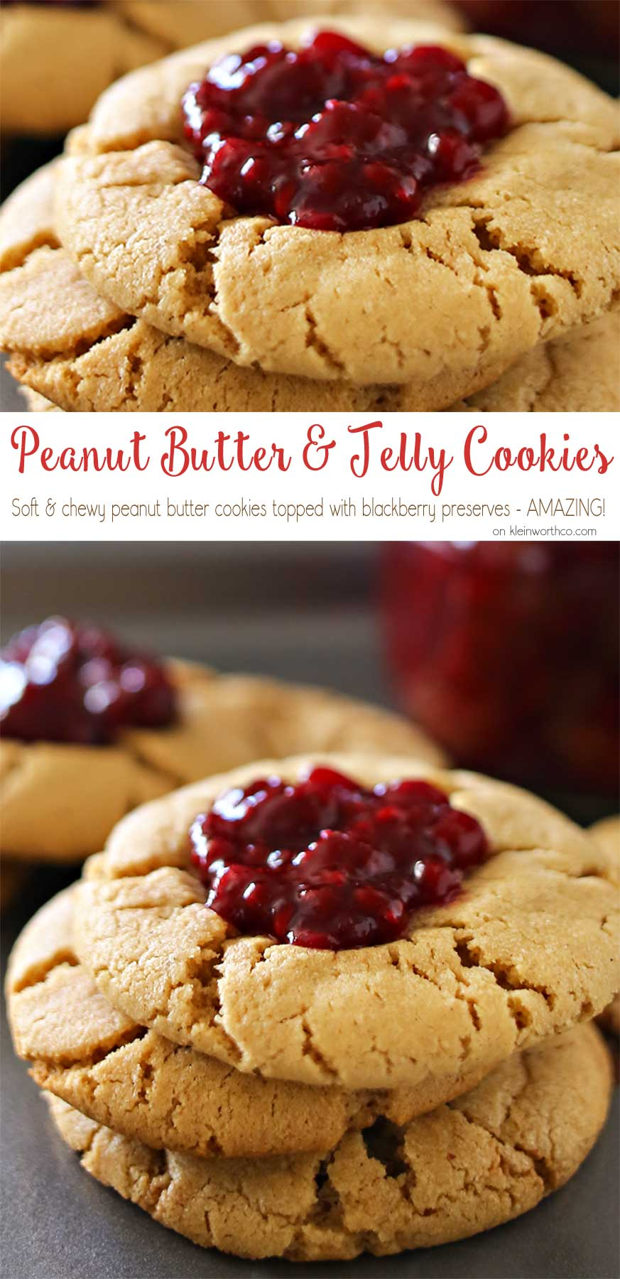 Peanut Butter & Jelly Cookies are a soft & chewy peanut butter cookie recipe topped with a dollop of blackberry preserves. Even better when you make your own jam to add on top. Easy dessert & a PB&J lovers dream! Don't miss my favorite jam recipe I share at the end too. So good!