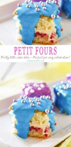 Scrumptious Petit Fours Recipe makes a perfect dessert for any celebration. Light & fluffy cake layered with jam & frosting & coated with more frosting! A favorite cake recipe that really shows it's something special. Serve these Spring Petit Fours. They are definitely the cutest little dessert and everyone will be amazed that they are homemade!