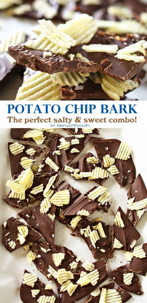 If you are a lover of salty & sweet then this Potato Chip Bark is your perfect easy dessert recipe. Chocolate & potato chips make a tasty treat. I'm telling you- bark recipes top the easy list. But then adding salty potato chips makes it over the top delicious too. Creamy sweet chocolate & crunchy, salty potato chips is heavenly!