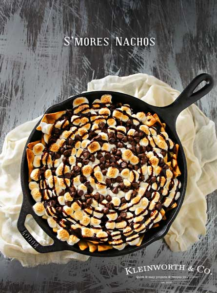 "If you love a traditional s'mores recipe, the you will fall in love with S'mores Nachos. Incredibly easy dessert recipe that makes you swoon! Cinnamon pita chips, chocolate, toasted marshmallows...does it really get any better than that? Honestly, when you see how easy these are to make- it will be your ""go-to"" dessert, no campfire needed!"