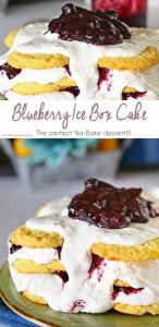 Blueberry Ice Box Cake is a simple no-bake dessert idea that everyone loves. Cookies, whipped cream & homemade blueberry pie filling are a perfect combo that you can't pass up! Definitely the perfect warm weather treat!