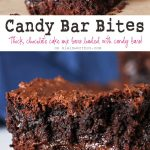 Simple cake mix brownies loaded with candy bars makes Candy Bar Bites that are OUT OF THIS WORLD! If you love yummy bar recipes, these are the perfect treat to satisfy any chocolate craving! Plus they are so easy to make. Just 5 ingredients & less than 1 hour to yummy goodness.