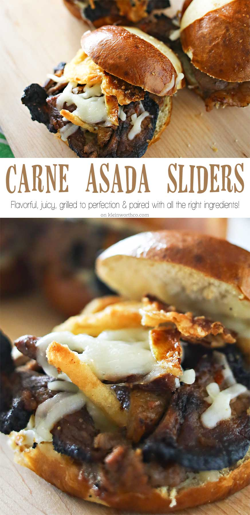 Carne Asada Sliders are a great easy family dinner idea that's perfect for warm weather holidays. The perfect grilled beef sandwich recipe for summer. Loaded with all the good stuff- everyone will RAVE!