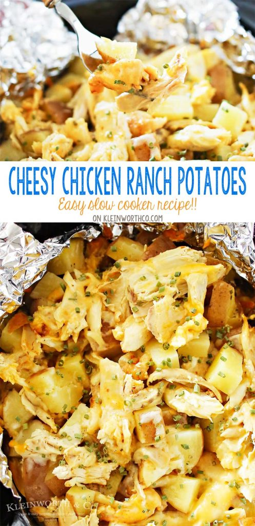 Cheesy Chicken Ranch Potatoes are a simple slow cooker side dish recipe that's so delicious. Just another easy family dinner idea that's ready in just 4 hours. OMG- these are SO GOOD! LOVE that this recipe is family size!