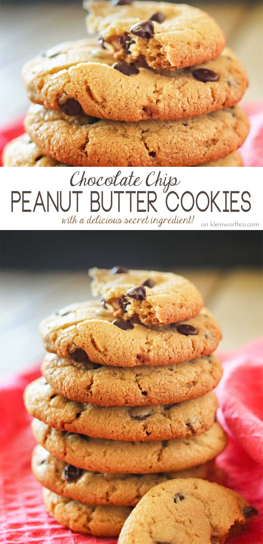 Chocolate Chip Peanut Butter Cookies are crisp outside, soft inside. There's also a secret ingredient that makes them the BEST peanut butter cookies ever! Oh & the fact that they are loaded with mini chocolate chips doesn't hurt either!