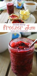 Double Berry Freezer Jam is a simple homemade preserves recipe that takes just about 10 minutes. Perfect for all that summer fruit from the garden! It's great with breakfast or paired with your peanut butter. I even like to add some to my ice cream!