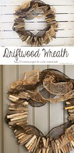 A simple Driftwood Wreath is a great way to bring a little coastal decor into your home. My quick tutorial shows you how you can easily make your own. Just 4 products & 20 minutes is all it takes.