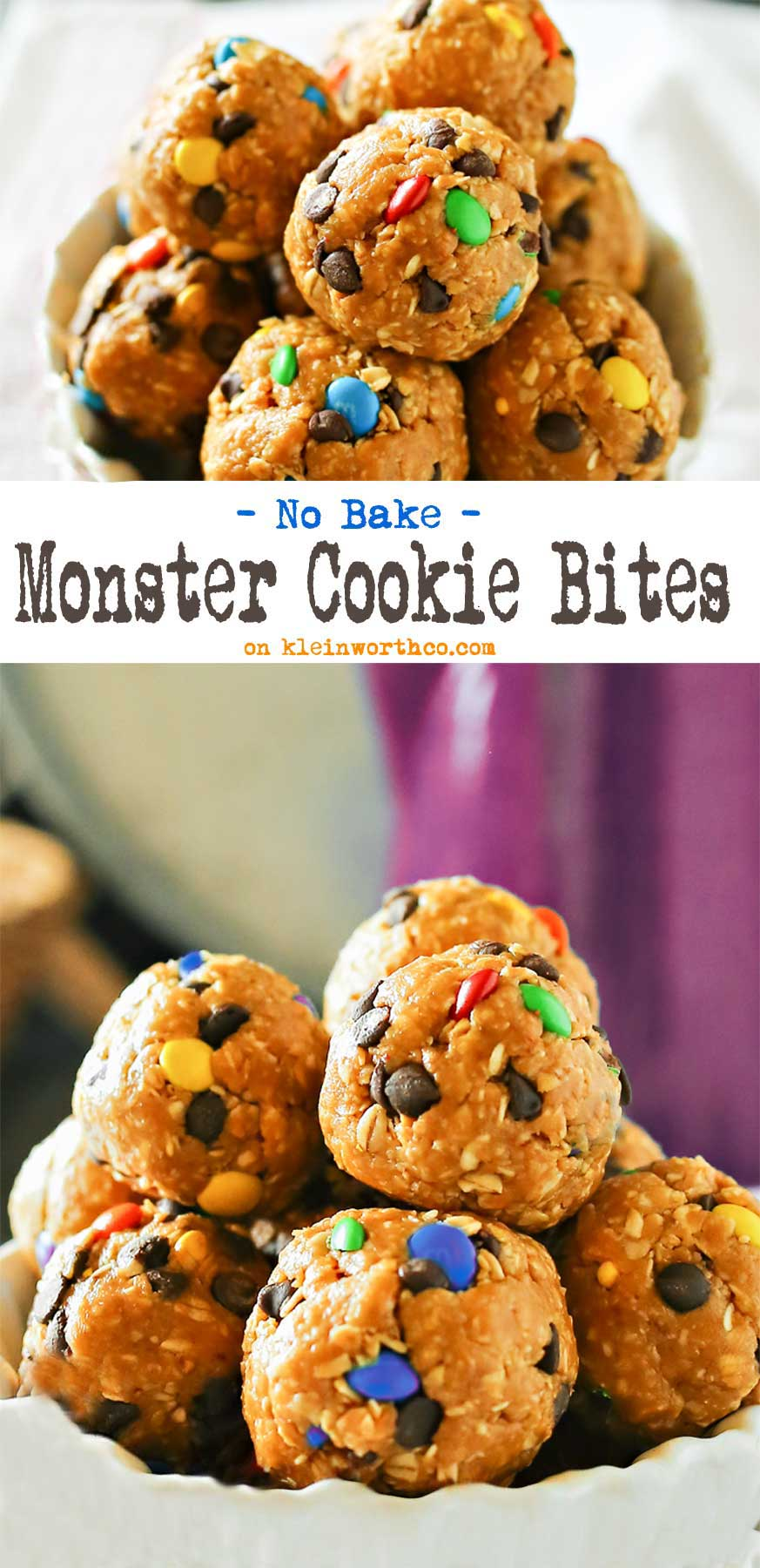 Monster Cookie Bites are an easy no-bake dessert that any M&M lover will ask for time & time again. Oats, peanut butter & honey make these a great snack!