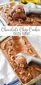Chocolate Chip Cookie Frozen Yogurt is a simple homemade no churn frozen yogurt recipe that is sure to delight! Chocolate frozen yogurt packed full of chocolate chip cookies, it's an easy frozen dessert recipe you'll love!