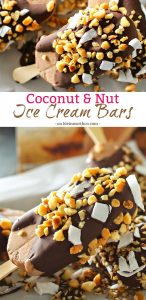 Coconut Nut Ice Cream Bars are the perfect little cool down on a hot summer day. Just a handful of ingredients & a few minutes is all you need. Chocolate ice cream coated with a thick layer of milk chocolate & coated with coconut & macadamia nuts is just heaven.