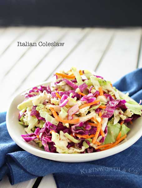 Italian Coleslaw is a twist on the classic backyard bbq side dish. Zesty and flavorful, this coleslaw recipe is sure to be a favorite all summer long.