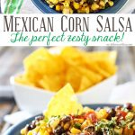 Mexican Corn Salsa is a zesty blend of corn, black beans, peppers, chiles & onions sauteed in butter & spices & mixed with a kicky lime crema. Scrumptious! It's so good by itself or mixed in other dishes.