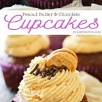 Peanut Butter Chocolate Cupcakes are the perfect cupcake recipe for peanut butter & chocolate lovers. Topped with a peanut butter cookie & sprinkles- Yummy!