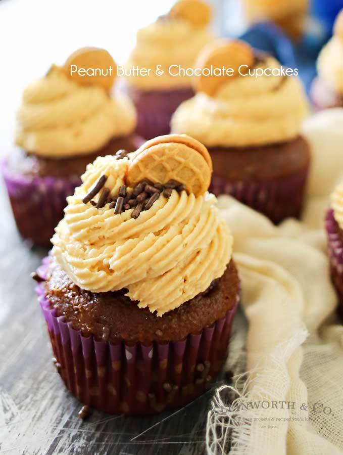 Peanut Butter Frosted Cupcakes