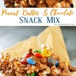 Peanut Butter Chocolate Snack Mix is made with popcorn, Chex cereal, M&M's & peanut butter & chocolate chips making one of our favorite chex mix recipes. It's seriously one of those recipes I can't stop eating. Peanut butter & chocolate are always a favorite.