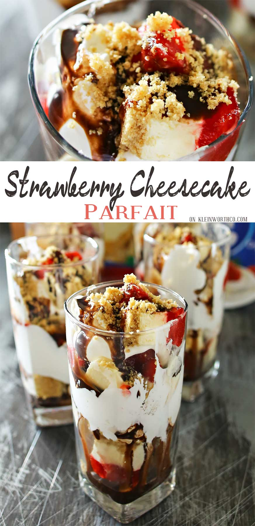Strawberry Cheesecake Parfait is made with chunks of strawberry topped cheesecake, whipped topping, chocolate syrup & graham cracker sprinkles. A perfect easy treat to serve for Mother's Day.