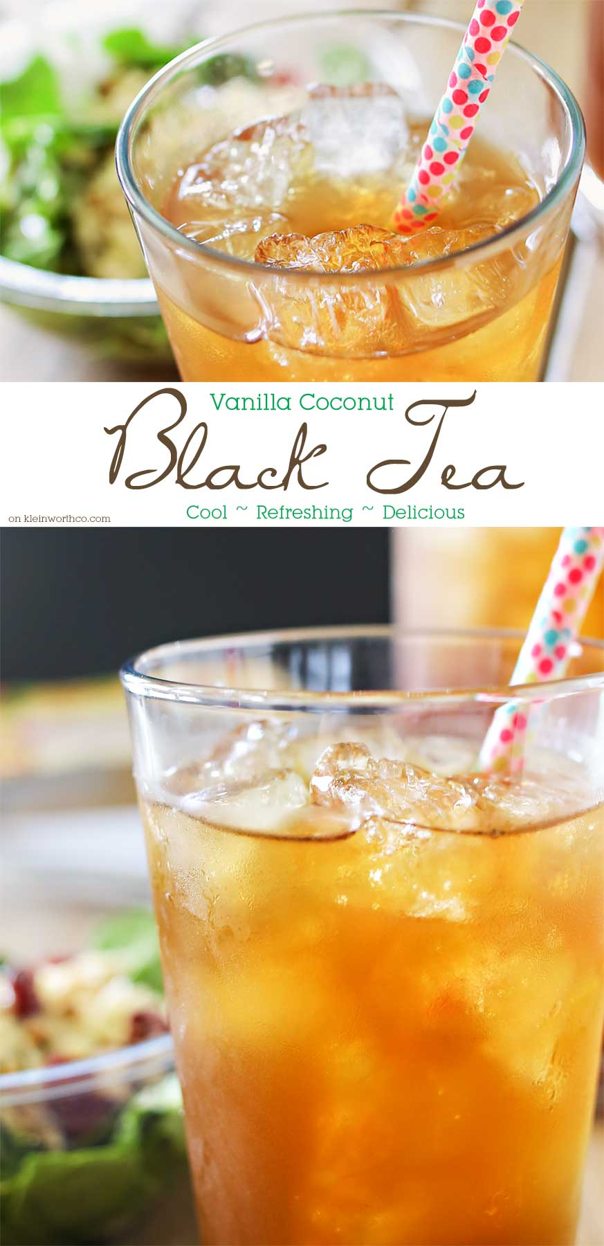 Vanilla Coconut Black Tea is the perfect refreshing beverage to pair with your lunch or dinner. One of my favorite ice tea recipes that's so easy to make. Oh how I love homebrewed iced tea.