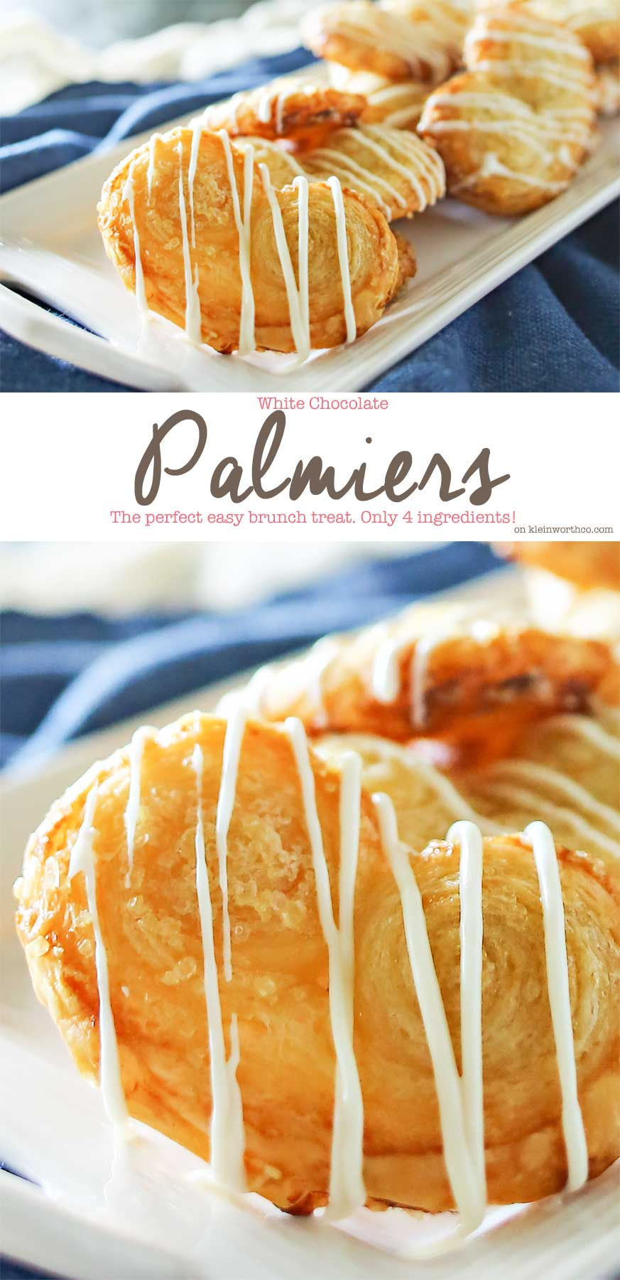 White Chocolate Palmiers are a simple cookie made with puff pastry. Ready in as little as 40 minutes, they make a great addition to summer brunch.