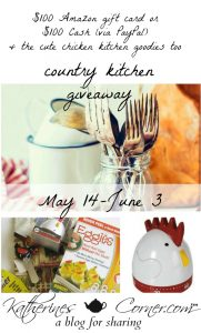 Because we love you- our wonderful readers, we are bringing you this Country Kitchen Giveaway as a thank you for your support.