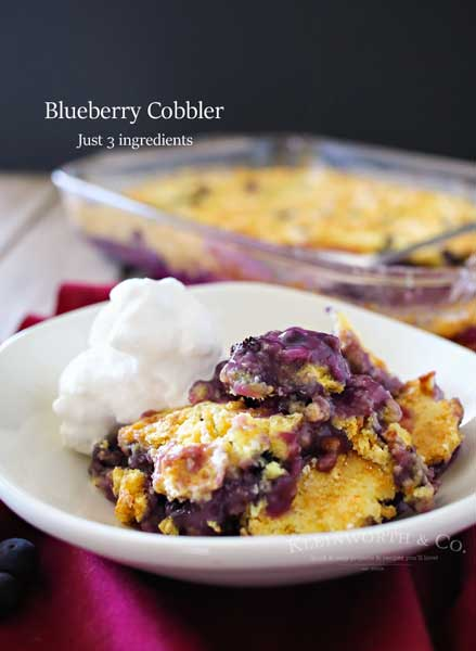 Blueberry Cobbler in a white bowl.