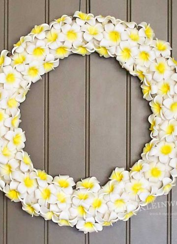 This Plumeria Wreath is the perfect summer front door decoration. Check out my full how-to tutorial on this simple & easy DIY project for the home.