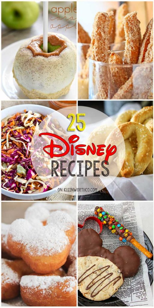 25 Disney Inspired Recipes from all your favorite places in the park. YUMMMM!