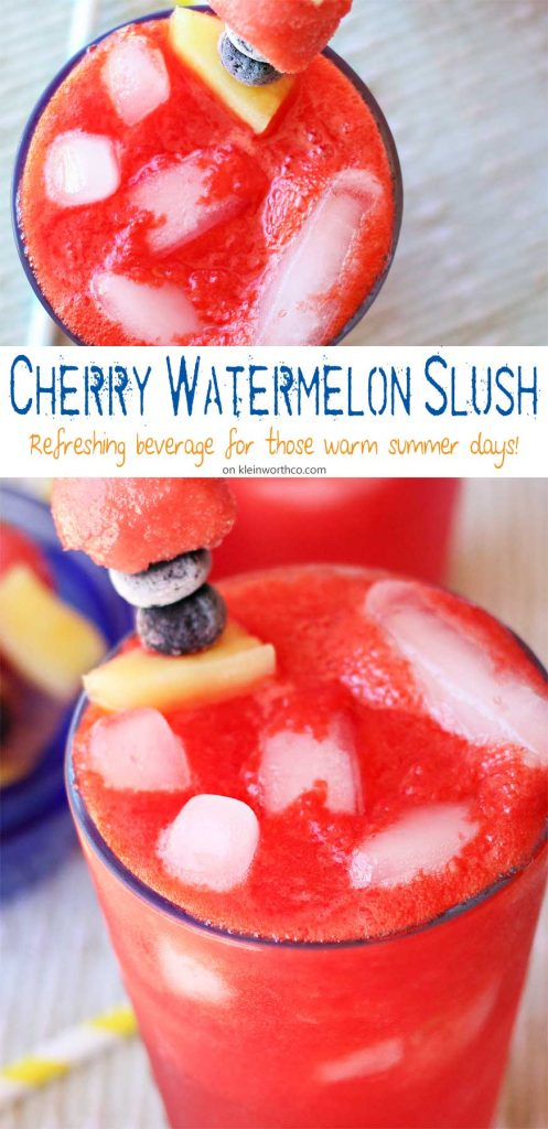 Cherry Watermelon Slush is a refreshing watermelon drink recipe that will keep you cool all summer. It's our family's favorite summer slushie recipe. YUM!